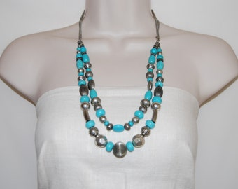 Turquoise and Silver Beaded Necklace, Silver and Turquoise Chunky Necklace, Turquoise Jewelry, Double Turquoise Multistrand Necklace