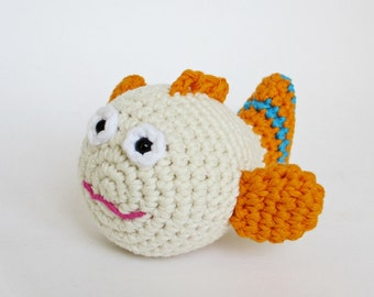 Tropical fish rattle baby toy - organic cotton stuffed toy - crochet fish - ecru and orange
