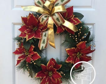 Christmas Wreath, Holiday Wreath, Poinsettia Wreath, Red Green Wreath, Front Door Wreath, Wreath Street Floral, Grapevine Wreath
