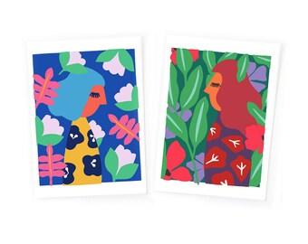 Affiche scandinave, ensemble d'affiches, ensemble de cartes, portrait de femme, paysage, nature, illustrations, affiche moderne, coloré