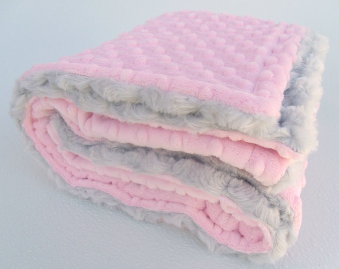 Light Pink and Gray Minky Baby Blanket - Silver Rose Swirl for girl