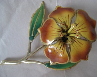 Flower Gold Brown Green Brooch Vintage Pin