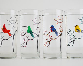 The Four Seasons Bird Glassware - 4 Everyday 16 oz Glasses, Cardinal, Hummingbird, Finch and Bluebird Drinking Glasses, The Four Seasons