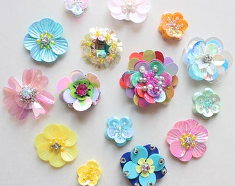 Lot 10 Random Stereo Beaded cloth stickers DIY garment accessories decorative Sequin cloth Sunflower Flowers wholesale