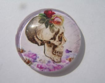 Glass cabochon round 20 mm with floral skull image