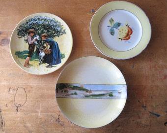 Vintage Dishes, Mismatched China, Vintage Yellow Plates, German Porcelain, Vintage Dinnerware, Vintage China, Antique China
