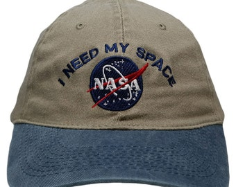 Nasa I Need My Space Embroidered FLEX Stretchable Pigment Dyed Cap - 5 Colors
