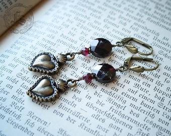 Sacred Heart Earrings with Garnets.