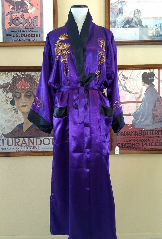 Gorgeous Purple With Gold Dragon Asian Robe,Evening Wrap,Reversible to Black with White Dragon,Belted with Pockets