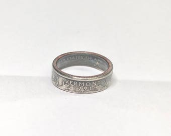 Vermont - Coin Ring - Coin Jewelry - Quarter Ring - Gift - State Wedding Ring - Husband - Wife - State Quarter Ring - Anniversary Gift