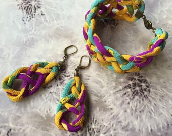 Japanese Chirimen cord knot bracelet / fabric cord jewelry -pansy