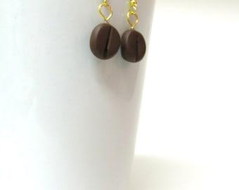 Polymer clay coffee bean earrings