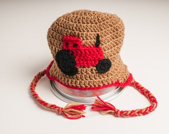 Tractor,  Case Red, Hat in Warm Brown