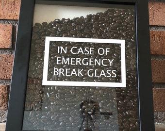 Coffee Shadow Box, In Case of Emergency Break Glass, Shadow Box