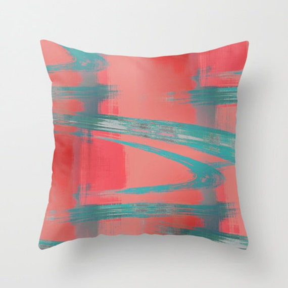 Abstract Throw Pillow Cover Teal Red Coral Grey Modern Home