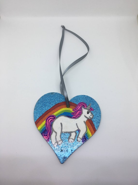 Unicorn and Rainbow Hanging Heart, Wooden Heart Plaque, Heart Decoration