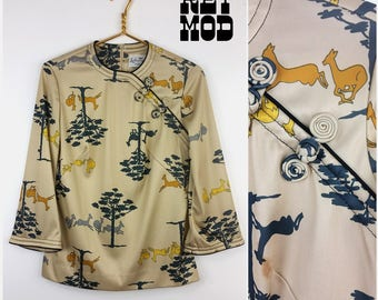 Interesting Vintage 70s Beige Asian Shirt Top with Deer and Trees by Leslie Fay