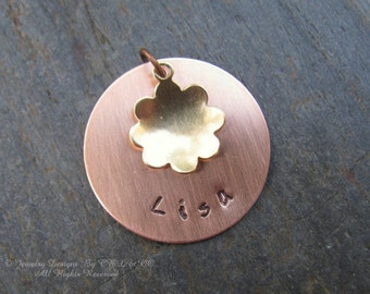 Metal Stamped Copper Disc and Brass Flower Personalized Necklace