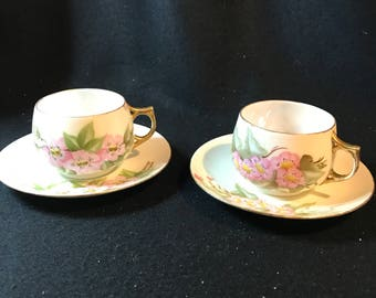 Pair, HEINRICH, H & Co., Selb Bavaria, Hand Painted, Pink Floral, Tea Cups and Saucers