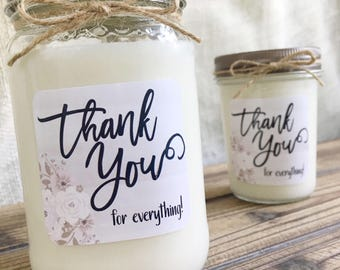 Thank You Soy Candle Gift | Personalized Candle Gift | Appreciation Gift | Thank You For Everything | Custom Thank You Gift