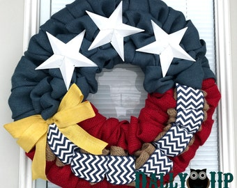 Deployment Burlap wreath - 4th of July Burlap Wreath - Burlap Wreath, Memorial day, Patriotic, Flag Wreath , Independence Day, Yellow Bow