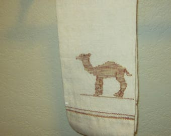 Vintage Hand Woven Hand Towel with Camel Design