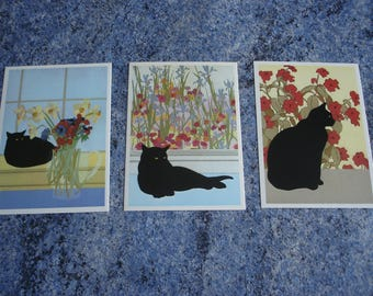 collection / 3 1984 new (Meg Dawson) CAT post cards