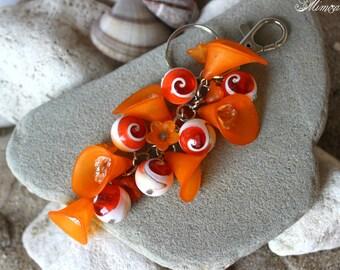Orange Keychain, Orange Keyring, Cluster Keychain, Flower Keychain, Orange Bag Charm, Orange Purse Charm, Orange Key Accessory, Key Gift