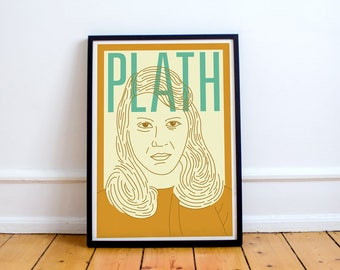 Sylvia Plath Print! The Bell Jar The Colossus Ariel, poetry, Ted Hughes, art, poster, double exposure,