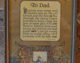 A Buzza Motto~1927~Glass Frame~by Lawrence Hawthorne~To Dad~Backing Replaced