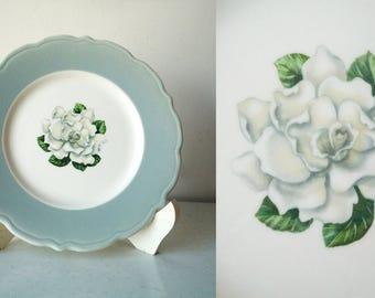 Vintage Gardenia Floral Plate, Syracuse China Plate, Gardenia Plate, SALE