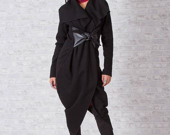 Woman Coat/ Winter Coat/ Wool Coat/ Long Sleeve Coat/ Black Coat/ Extravagant Coat/ Asymmetrical Coat/ Elegant Coat/  Friends Fashion