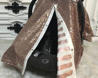 Rose gold with stripes / carseat cover / carseat canopy / ooak / sequin / infant car seat cover / gold / sparkle