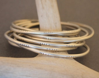 Johanna minimalist, modern sterling silver stackable cuff bracelets