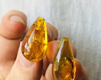 Amber Drop Post Earrings with Insect. Chiapas, Mexico Amber. Hand Shaped By Mayan Artisan