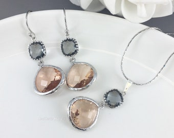 Bridesmaid Jewelry Set Champagne Grey Necklace and Earrings Glass Drop Bridesmaid Gifts Champagne Wedding Gift Gift for Her Wedding Jewelry