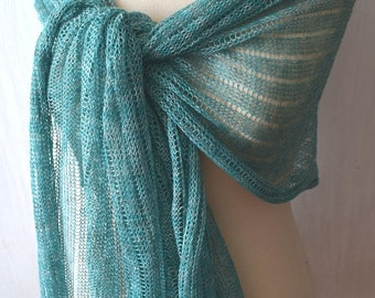 Women Linen Shawl Scarf Knit Natural Summer Wrap for  in Mint Green Melange