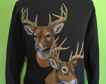 Vintage White-tailed deer Animal Print 1980s Crewneck Sweatshirt / vintage sweatshirt / deer sweatshirt Large