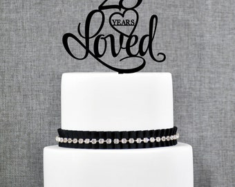 25 Years Loved Cake Topper, Classy 25th Birthday Cake Topper, 25 Anniversary Cake Topper- (T244-25)