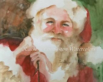 santa christmas CARD with SANTA card santa Holiday Greetings card set red green white santa xmas card art print watercolor painting 8 pack