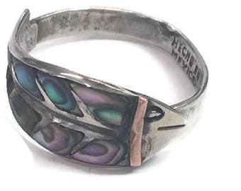 Modernist Abalone Ring Silver Fish Ring Mexican 925 Sterling Silver with Copper Detail Size Adjustable Taxco Jewelry Needs Repair