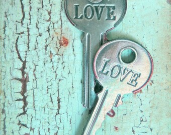 "Key Art, Shabby Cottage Chic Print, Love Art, Key Photography, Romantic Old Key Aqua Art, Peeling Paint, Rustic Farmhouse- ""Weathered Love"""