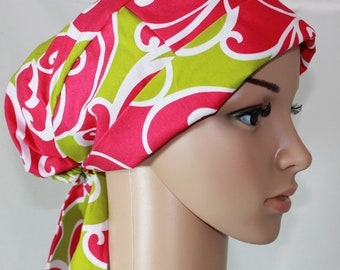 Women's Surgical Scrub Hat, Chemo Hat,Pleated Style,Scrub Cap,OR Cap,Surf