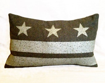READY TO SHIP: Washington D.C. Flag Pillow Cover from Military Blanket - Olive Green
