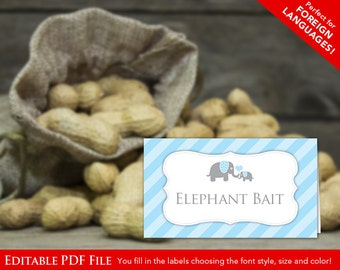 Instant Download Blue Elephant Food Labels, DIY Editable Food Labels, Blue Grey Elephant Tent Cards, Blank Place Cards, Editable PDF 22C