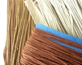 36 m cotton twisted cord * 0.2 cm * beige, ocher, Brown warm - France 1940