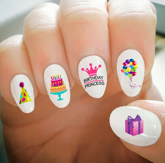 Nail Decals, Happy Birthday Nail Decals, Balloons, Cake, Party Hat ...