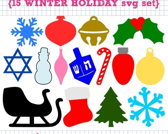 15 Winter Holiday SVG DXF cut files