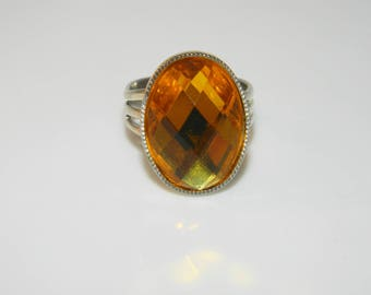 Ring adjustable romantic cabochon yellow rhinestones (ba123)