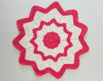 Crochet Pink and white doily handmade vintage